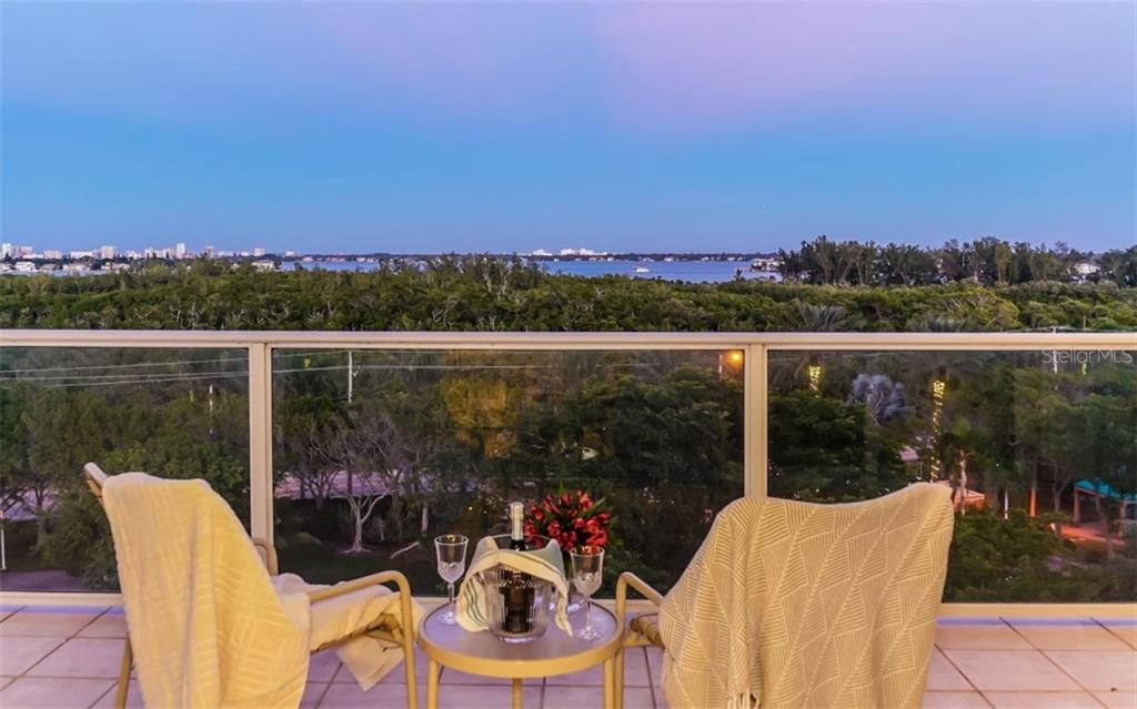 Second balcony of living room, second bedroom and master where you can enjoy sunset. - Condo for sale at 1800 Benjamin Franklin Dr #b507, Sarasota, FL 34236 - MLS Number is A4188540