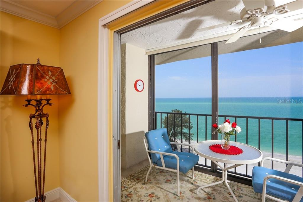 Florida room with Gulf of Mexico and beach views - Condo for sale at 20 Whispering Sands Dr #1103, Sarasota, FL 34242 - MLS Number is A4192663