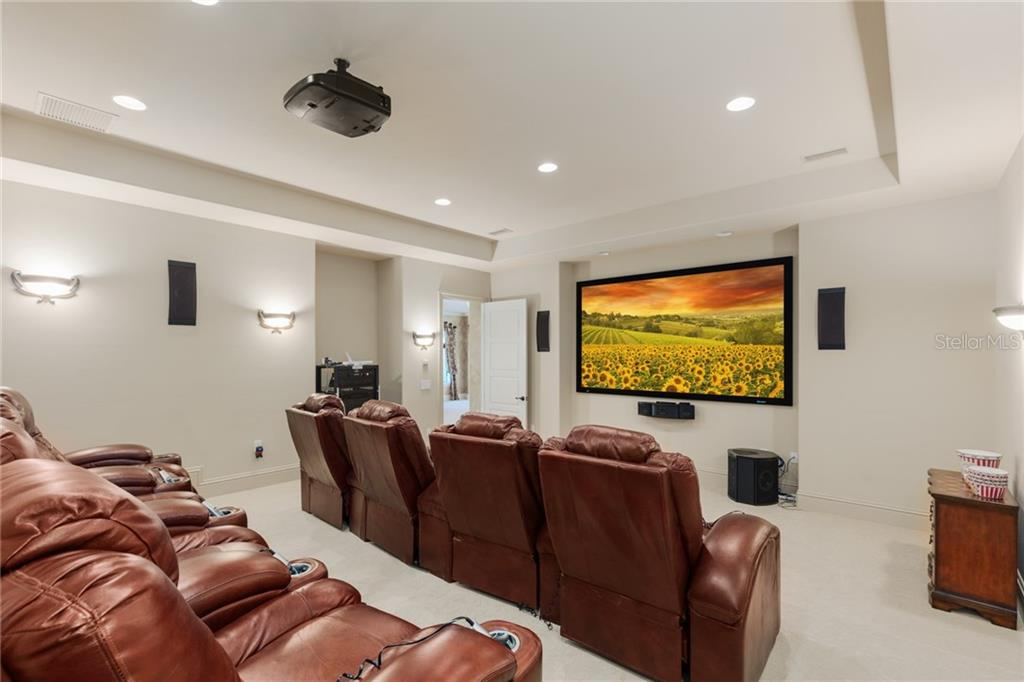Your own private home theater with bi-level seating, professional sound and AV, 9x5 movie screen, 6 speakers and sound bar! - Single Family Home for sale at 7320 Barclay Ct, University Park, FL 34201 - MLS Number is A4200908