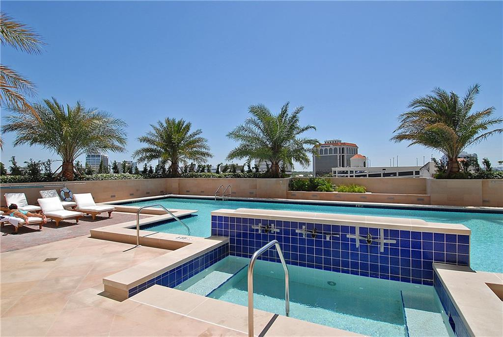 Spa and tanning chaises plus a large lap pool - Condo for sale at 1350 Main St #608, Sarasota, FL 34236 - MLS Number is A4206707