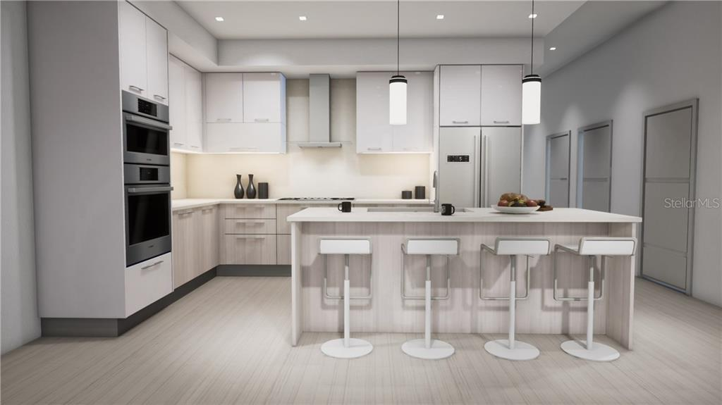 The Contemporary Kitchen Features Imported Italian Cucine Ricci Cabinetry, Caesarstone Countertops, Bosch Appliances and 12