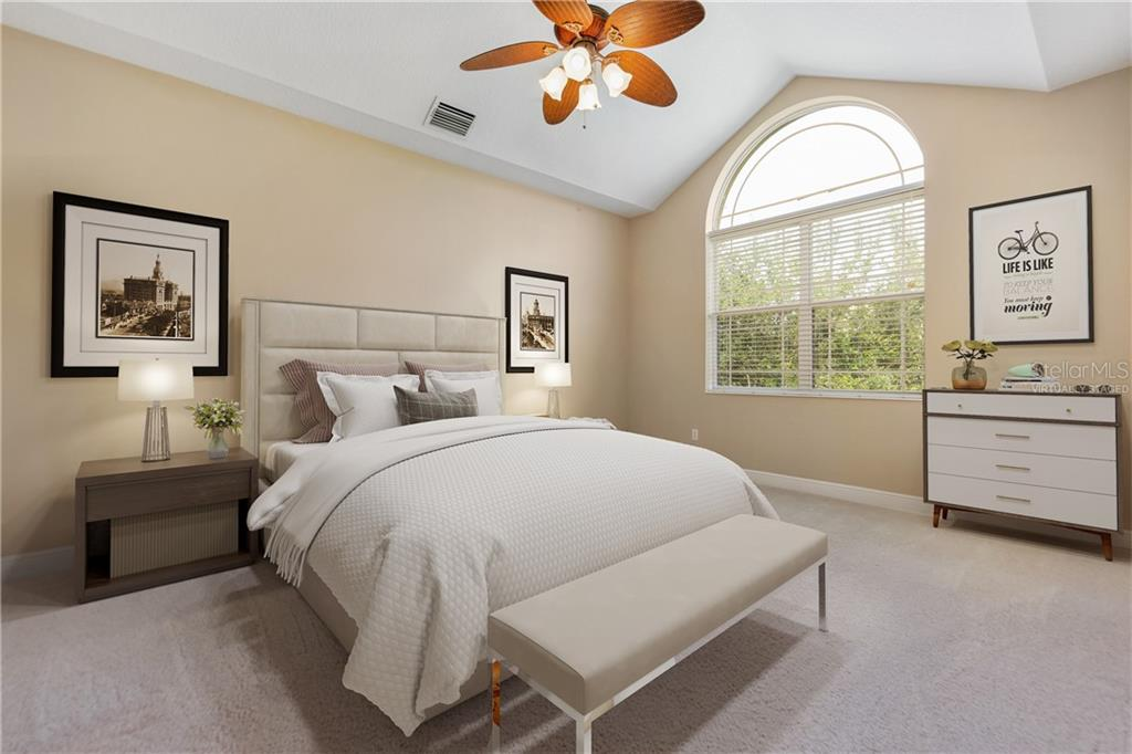 Virtually staged.  Master bedroom example. - Condo for sale at 6540 Moorings Point Cir #202, Lakewood Ranch, FL 34202 - MLS Number is A4403403