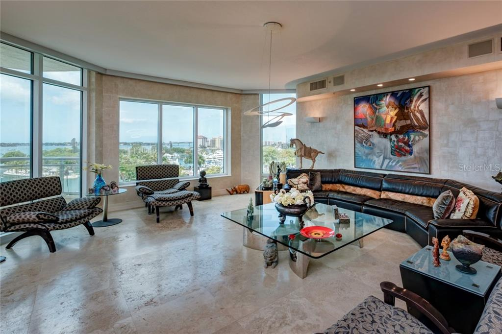 Living Room with views - Condo for sale at 340 S Palm Ave #412, Sarasota, FL 34236 - MLS Number is A4403968