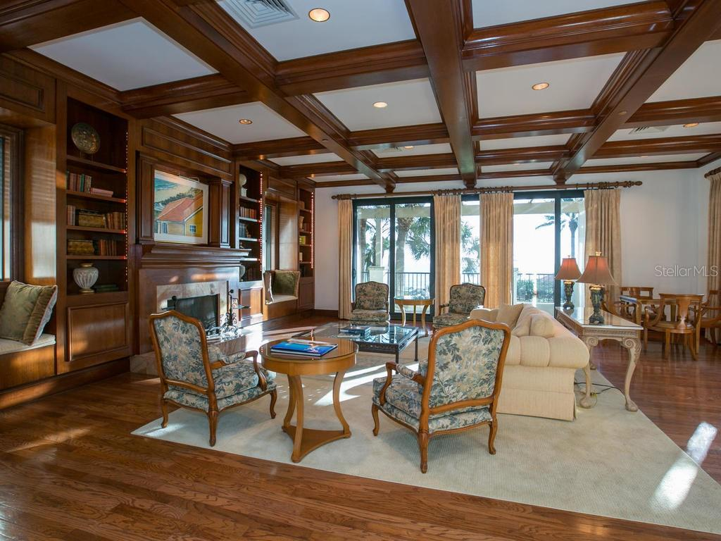 Oak paneled library in clubhouse. - Condo for sale at 1241 Gulf Of Mexico Dr #406, Longboat Key, FL 34228 - MLS Number is A4406877