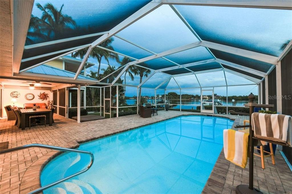 Pool with additional covered Lanai. Hot tub too. Breathtaking sunset views. - Single Family Home for sale at 417 Bayview Pkwy, Nokomis, FL 34275 - MLS Number is A4411087
