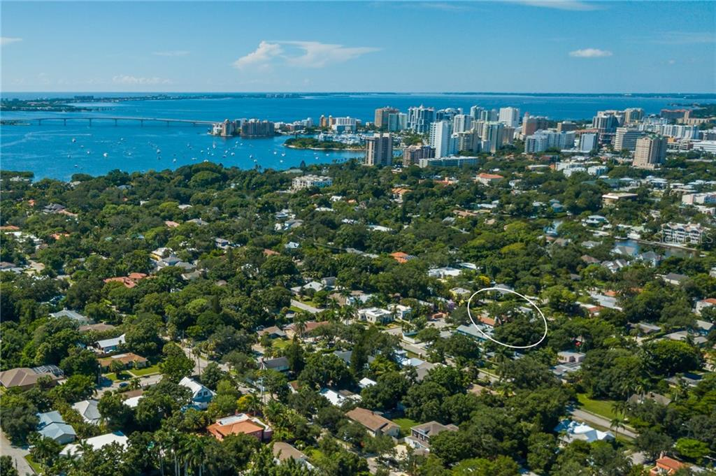 Aerial towards Downtown & Bay - Single Family Home for sale at 1019 S Osprey Ave, Sarasota, FL 34236 - MLS Number is A4415337
