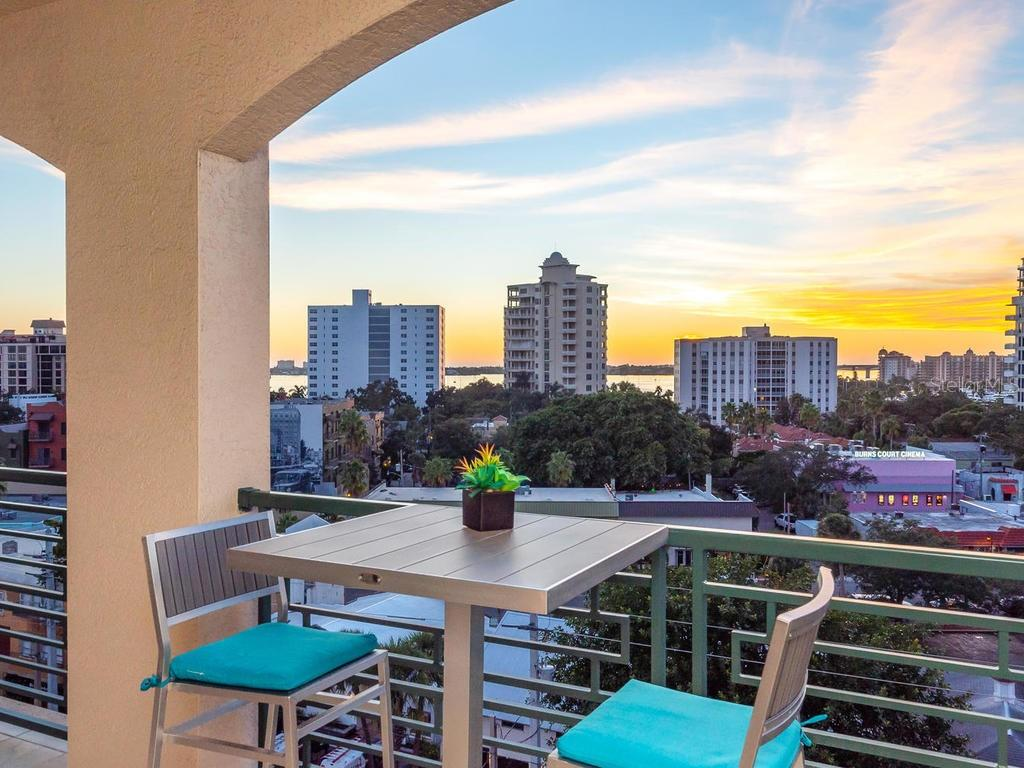 Large and Open lanai overlooking City and Bay from the seventh floor! - Condo for sale at 505 S Orange Ave #703, Sarasota, FL 34236 - MLS Number is A4418463