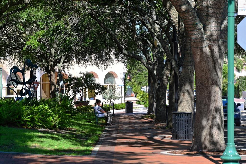 Shaded sidewalk leading to the Opera House - Condo for sale at 1350 Main St #1201, Sarasota, FL 34236 - MLS Number is A4427507