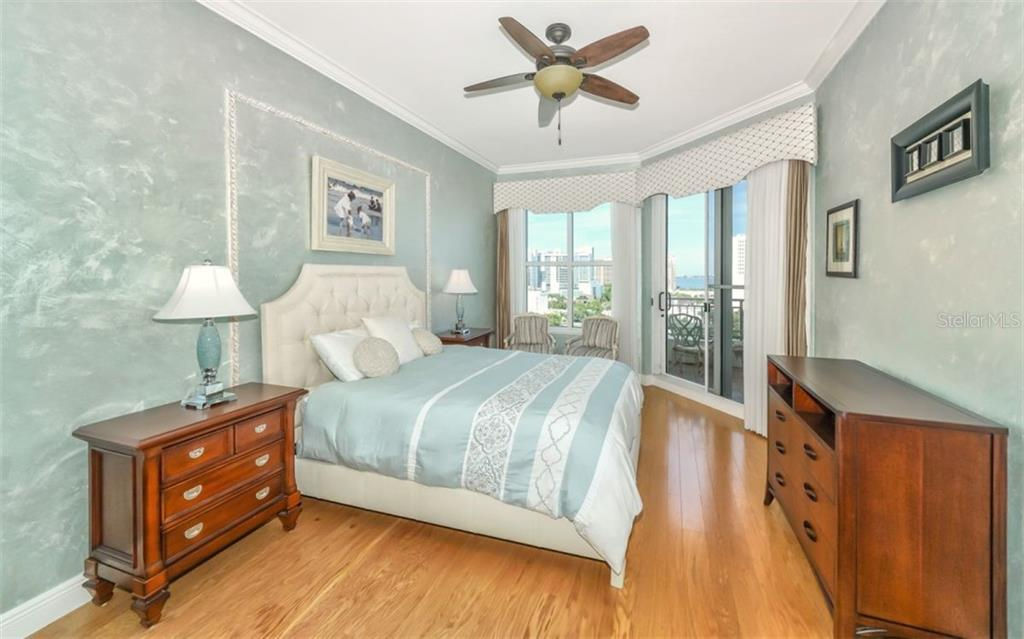 Master bedroom has direct access to the terrace.  Lots of light in this room! - Condo for sale at 100 Central Ave #f1014, Sarasota, FL 34236 - MLS Number is A4428676