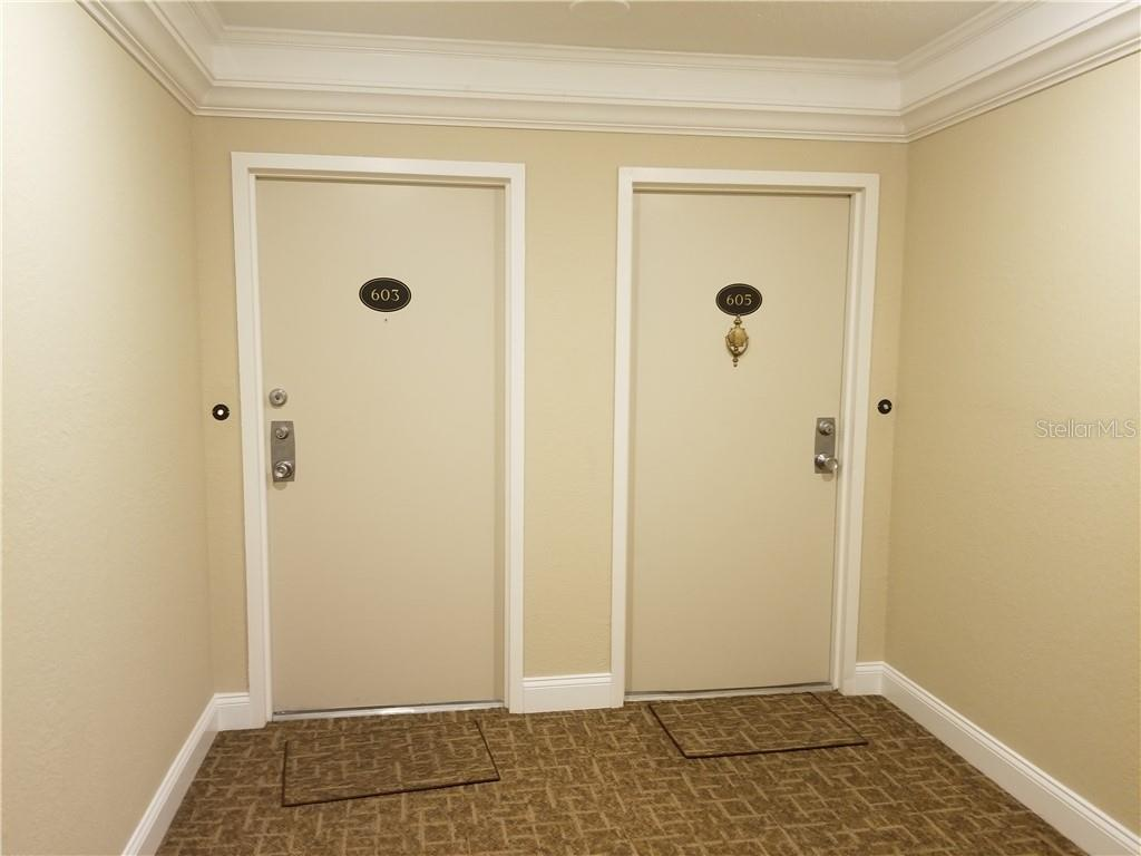 interior entry from elevator - Condo for sale at 1125 W Peppertree Dr #603, Sarasota, FL 34242 - MLS Number is A4430690