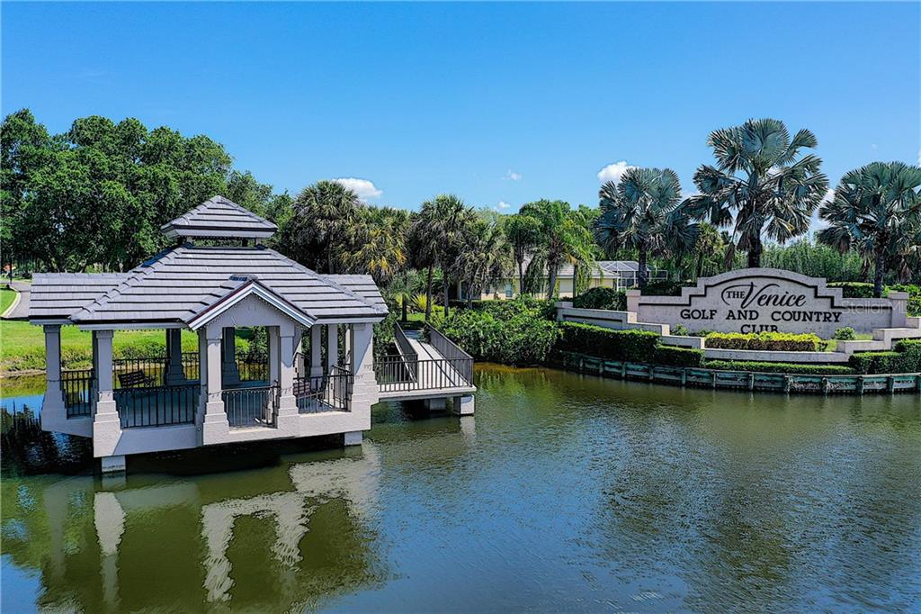 Picturesque gazebo at entrance to the club - Single Family Home for sale at 348 Melrose Ct, Venice, FL 34292 - MLS Number is A4439531