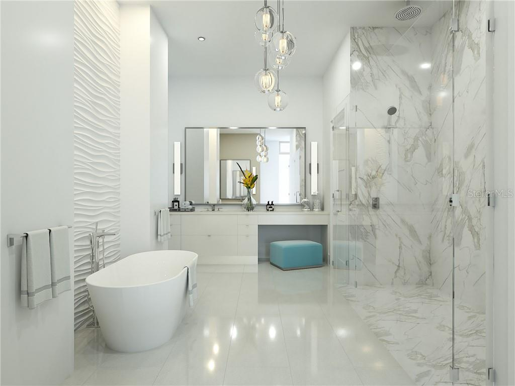 Indulge in the Owners' Spa Bath with curbless shower, soaking tub, dual vanities and 2 water closets. - Condo for sale at 605 S Gulfstream Ave #12, Sarasota, FL 34236 - MLS Number is A4441150