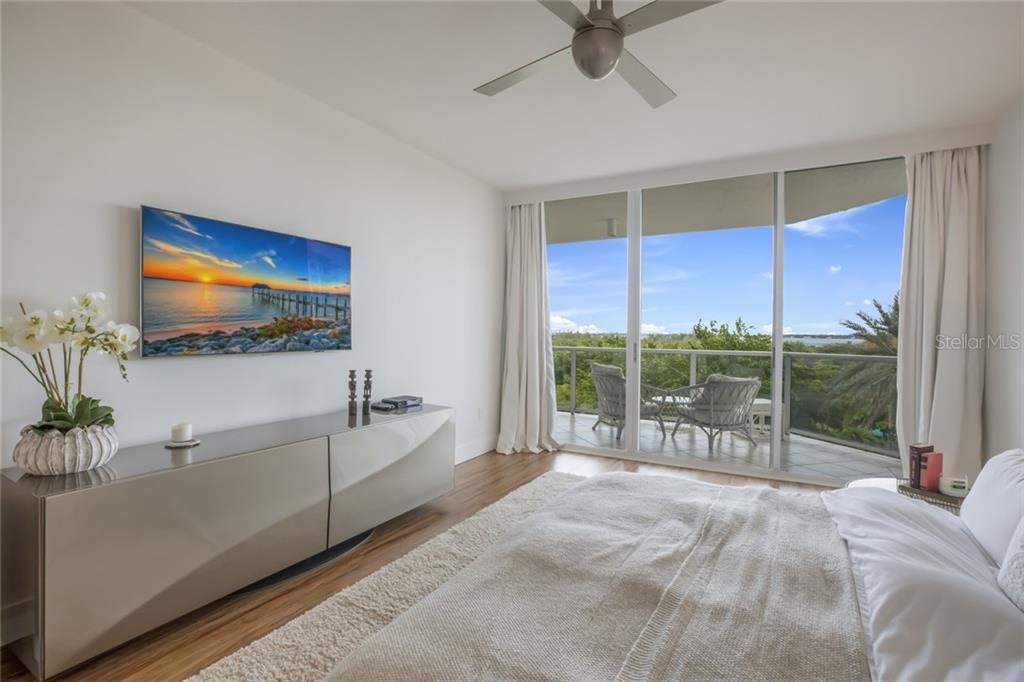 Master Bedroom with Bay & City views. - Condo for sale at 1800 Benjamin Franklin Dr #b408, Sarasota, FL 34236 - MLS Number is A4444789