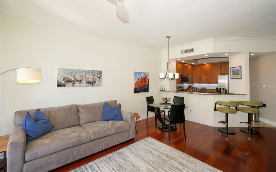 Great room and the terrace - Condo for sale at 100 Central Ave #A304, Sarasota, FL 34236 - MLS Number is A4458873
