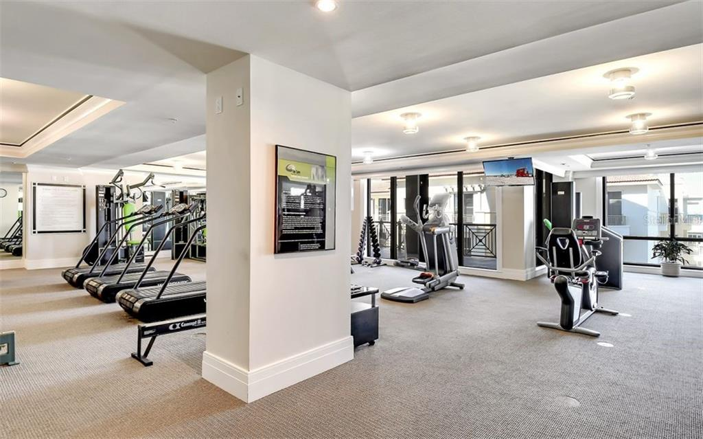 Spacious fitness room with access to the large terrace on the 10th floor - Condo for sale at 50 Central Ave #16a, Sarasota, FL 34236 - MLS Number is A4482401