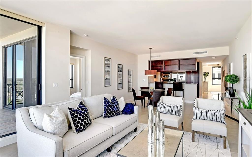 Open floor plan - high ceilings - access to the terrace with bay views - Condo for sale at 50 Central Ave #16a, Sarasota, FL 34236 - MLS Number is A4482401