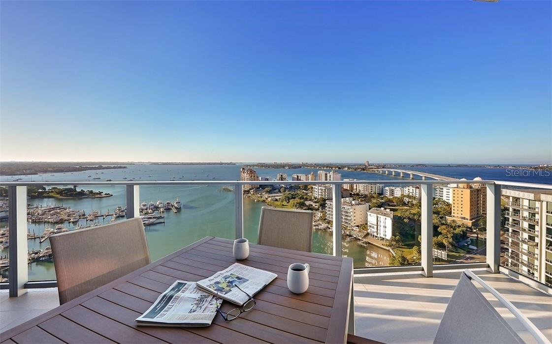 Morning Coffee on Balcony #2 - Condo for sale at 1155 N Gulfstream Ave #1802, Sarasota, FL 34236 - MLS Number is A4485046