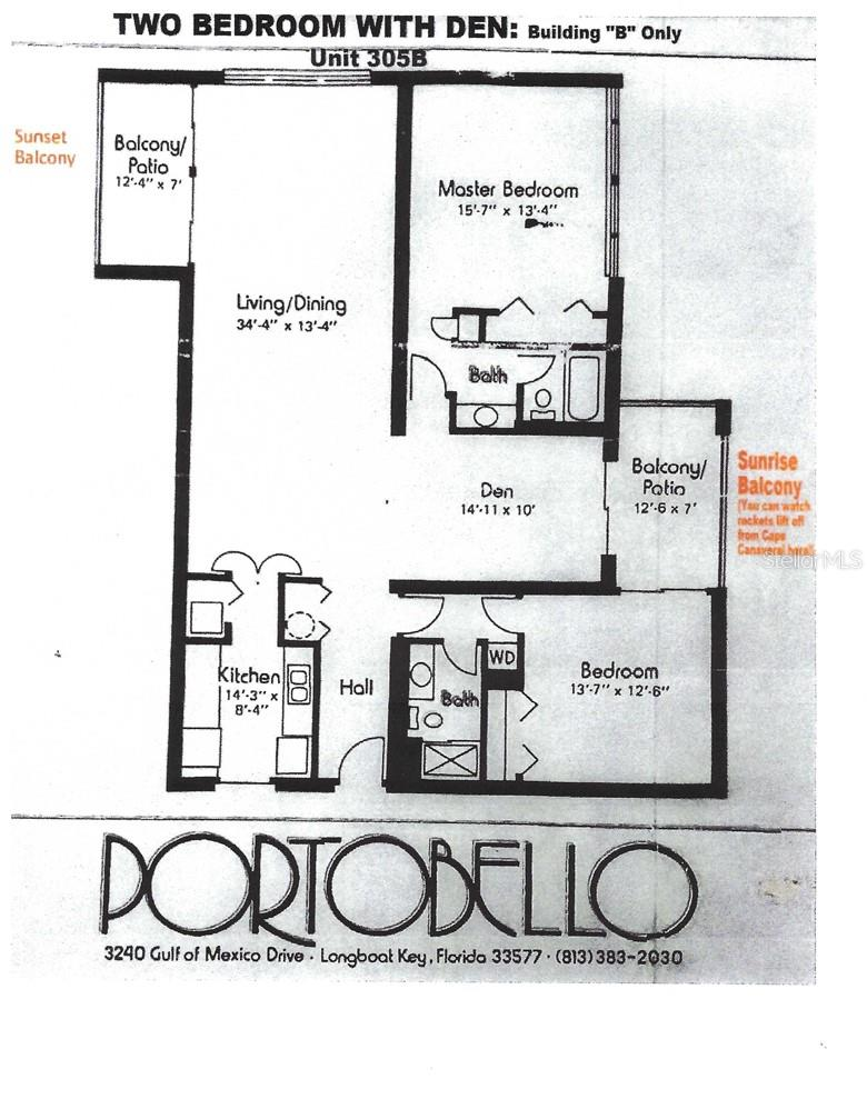Floor Plan, Unit 305B. In this unit the plan is flipped so that the bedrooms are to the left and the kitchen is to the right as you enter. - Condo for sale at 3240 Gulf Of Mexico Dr #B305, Longboat Key, FL 34228 - MLS Number is A4485219