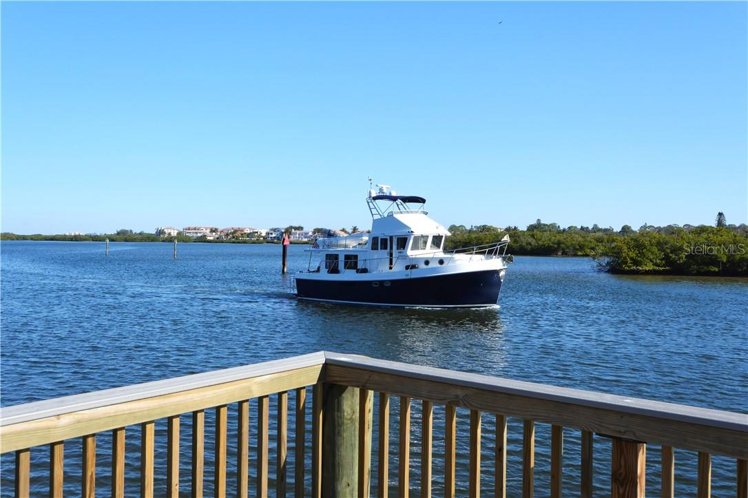 View from the fishing pier - Condo for sale at 1200 E Peppertree Ln #602, Sarasota, FL 34242 - MLS Number is A4495963